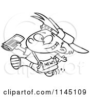 Cartoon Clipart Of A Black And White Happy Paperboy Holding A Newspaper Vector Outlined Coloring Page