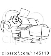 Cartoon Clipart Of A Black And White Little Girl Trying To Use A Copier Machine Vector Outlined Coloring Page by toonaday