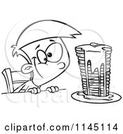 Cartoon Clipart Of A Black And White Hungy Boy Gazing At A Stack Of Pancakes Dripping With Syrup Vector Outlined Coloring Page by toonaday