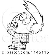 Cartoon Clipart Of A Black And White Tired Boy Yawning Vector Outlined Coloring Page