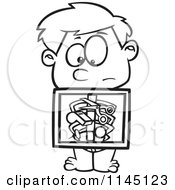 Cartoon Clipart Of A Black And White Boy With An Xray Showing Swallowed Items Vector Outlined Coloring Page
