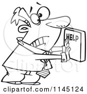Cartoon Clipart Of A Black And White Frantic Businessman Pushing A Help Button Vector Outlined Coloring Page by toonaday