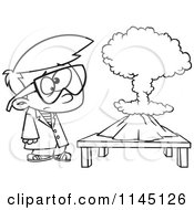 Cartoon Clipart Of A Black And White Scientist Boy With A Mushroom Cloud Project Vector Outlined Coloring Page