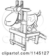 Cartoon Clipart Of A Black And White Goat In A Milk Stand Vector Outlined Coloring Page by toonaday