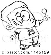Cartoon Clipart Of A Black And White Happy Black Boy Holding Up A Lollipop Vector Outlined Coloring Page