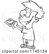 Cartoon Clipart Of A Black And White Happy Boy With A Messy Jam Sandwich Vector Outlined Coloring Page by toonaday