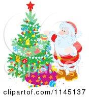 Cartoon Of Santa Decorating A Christmas Tree Royalty Free Vector Clipart