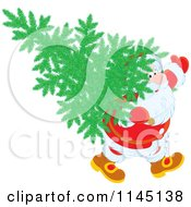 Cartoon Of Santa Carrying A Christmas Tree On His Back Royalty Free Vector Clipart by Alex Bannykh