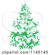Cartoon Of An Evergreen Christmas Tree Flocked In Snow Royalty Free Vector Clipart
