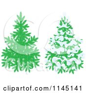 Cartoon Of Evergreen Christmas Trees And One With Snow Royalty Free Vector Clipart