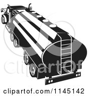Clipart Of A Black And White Tanker Oil Truck Royalty Free Vector Illustration