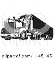 Clipart Of A Retro Black And White Big Rig Truck 6 Royalty Free Vector Illustration