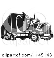 Clipart Of A Retro Black And White Big Rig Truck 4 Royalty Free Vector Illustration