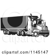 Clipart Of A Retro Black And White Big Rig Truck 5 Royalty Free Vector Illustration