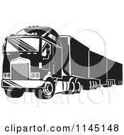 Clipart Of A Retro Black And White Big Rig Truck 1 Royalty Free Vector Illustration