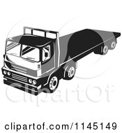 Clipart Of A Retro Black And White Big Rig Truck With A Flat Bed Royalty Free Vector Illustration