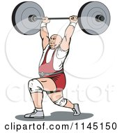 Clipart Of A Retro Bodybuilder Doing Lunges With A Barbell Royalty Free Vector Illustration