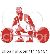 Clipart Of A Retro Red Bodybuilder Lifting A Barbell Royalty Free Vector Illustration