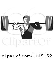 Clipart Of A Retro Black And White Bodybuilder Lifting A Barbell Royalty Free Vector Illustration by patrimonio