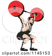 Clipart Of A Bodybuilder Squatting With A Barbell Royalty Free Vector Illustration