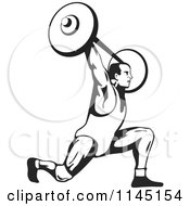 Clipart Of A Retro Black And White Bodybuilder Doing Lunges With A Barbell Royalty Free Vector Illustration