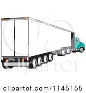 Clipart Of A Retro White And Turquoise Big Rig Truck Royalty Free Vector Illustration