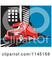Clipart Of A Retro Red Big Rig Truck In A City Royalty Free Vector Illustration