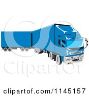 Clipart Of A Retro Blue Big Rig Truck 1 Royalty Free Vector Illustration