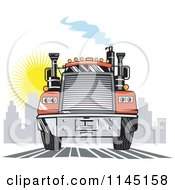 Clipart Of A Retro Orange Big Rig Truck Leaving A City Royalty Free Vector Illustration