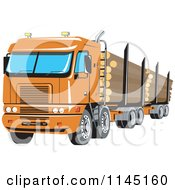 Clipart Of A Retro Big Rig Logging Truck Royalty Free Vector Illustration