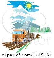 Clipart Of A Retro Big Rig Logging Truck In The Mountains Royalty Free Vector Illustration