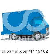 Clipart Of A Vintage Blue Moving Van Royalty Free Vector Illustration
