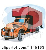 Clipart Of A Vintage Orange And Red Moving Van Royalty Free Vector Illustration