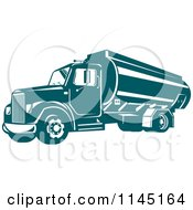 Clipart Of A Retro Teal Oil Big Rig Truck Royalty Free Vector Illustration