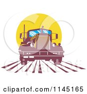 Clipart Of A Retro Big Rig Truck Against A Yellow Sun Royalty Free Vector Illustration