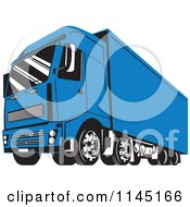 Clipart Of A Retro Blue Big Rig Truck 2 Royalty Free Vector Illustration