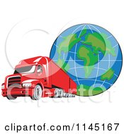 Clipart Of A Retro Red Big Rig Truck And Globe 2 Royalty Free Vector Illustration