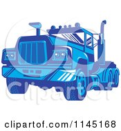 Clipart Of A Retro Blue Big Rig Truck 3 Royalty Free Vector Illustration