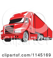Retro Red Big Rig Truck