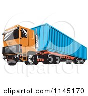 Clipart Of A Retro Orange Big Rig Truck Royalty Free Vector Illustration