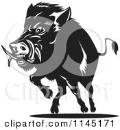 Clipart Of A Retro Black And White Charging Wild Boar Pig Royalty Free Vector Illustration