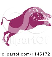 Clipart Of A Retro Purple Leaping Wild Boar Pig Royalty Free Vector Illustration