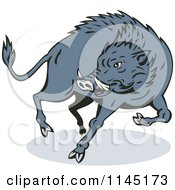 Clipart Of A Jumping Wild Boar Royalty Free Vector Illustration