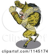Clipart Of An Attacking Green Wild Boar Man Royalty Free Vector Illustration
