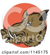 Clipart Of A Retro Wild Boar Pig Head Over An Orange Circle Royalty Free Vector Illustration