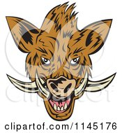 Clipart Of A Retro Wild Boar Pig Head Royalty Free Vector Illustration