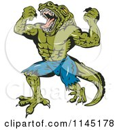 Clipart Of A Screaming Crocodile Man Villain Royalty Free Vector Illustration by patrimonio