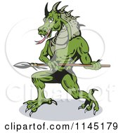 Clipart Of A Dragon Villain Holding A Spear Royalty Free Vector Illustration by patrimonio