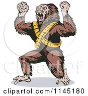 Clipart Of A Screaming Gorilla Man Villain Royalty Free Vector Illustration by patrimonio
