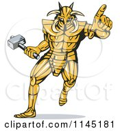 Clipart Of A Running And Pointing Knight Villain Royalty Free Vector Illustration by patrimonio
